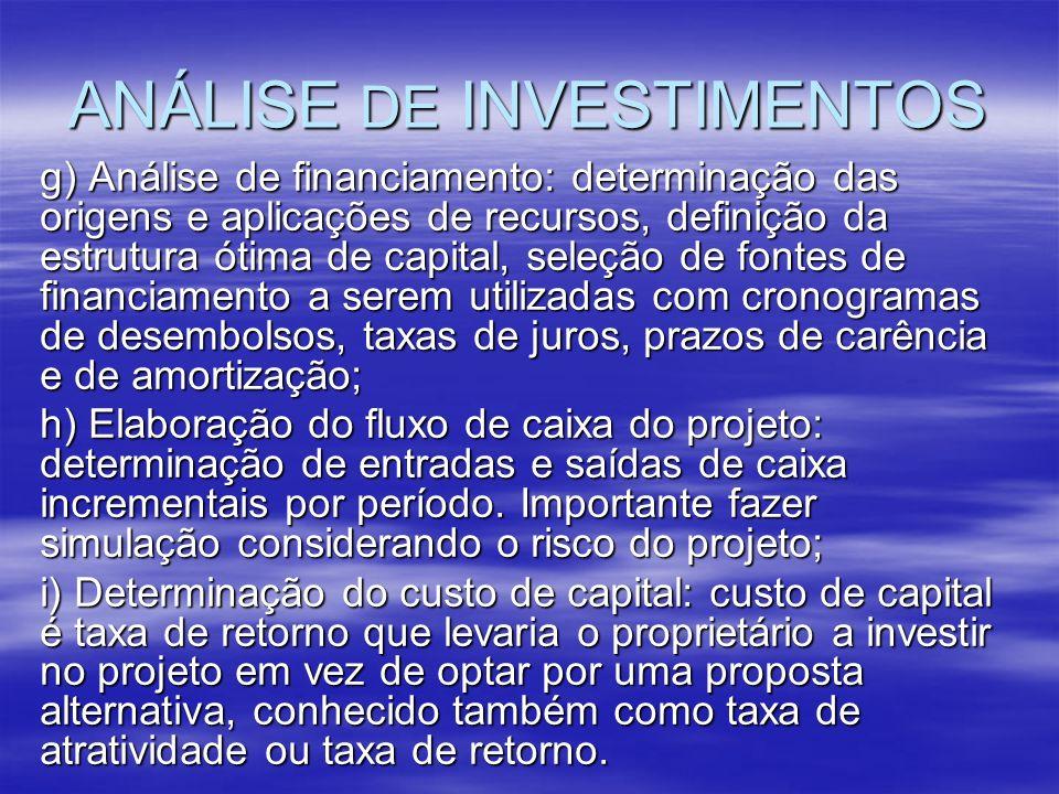 ANÁLISE DE INVESTIMENTOS g) Análise de financiamento: determinação das origens e aplicações de recursos, definição da estrutura ótima de capital, sele