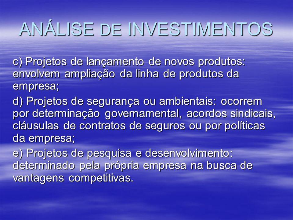 ANÁLISE DE INVESTIMENTOS c) Projetos de lançamento de novos produtos: envolvem ampliação da linha de produtos da empresa; d) Projetos de segurança ou