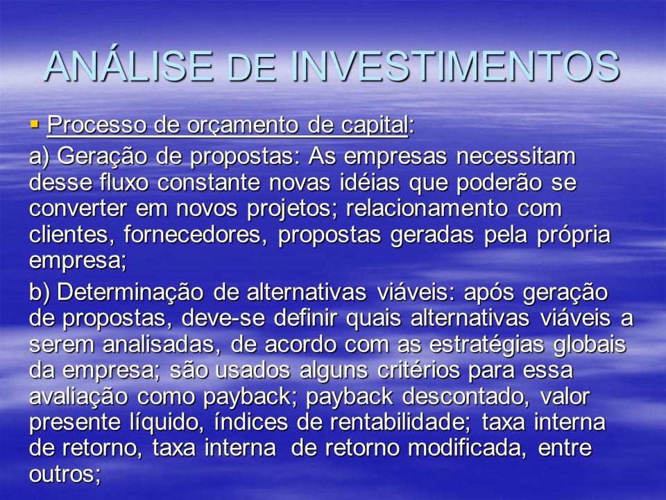 ANÁLISE DE INVESTIMENTOS Processo de orçamento de capital: Processo de orçamento de capital: a) Geração de propostas: As empresas necessitam desse flu