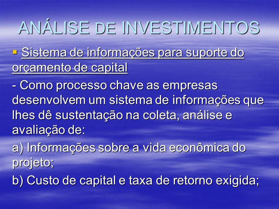 ANÁLISE DE INVESTIMENTOS Sistema de informações para suporte do orçamento de capital Sistema de informações para suporte do orçamento de capital - Com