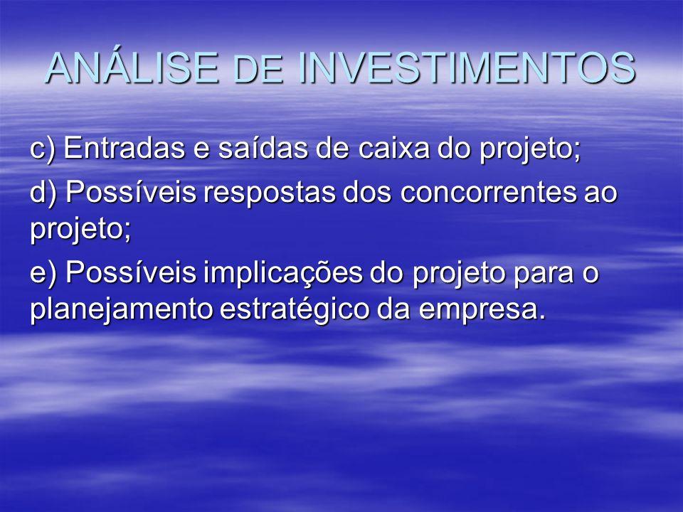 ANÁLISE DE INVESTIMENTOS c) Entradas e saídas de caixa do projeto; d) Possíveis respostas dos concorrentes ao projeto; e) Possíveis implicações do pro