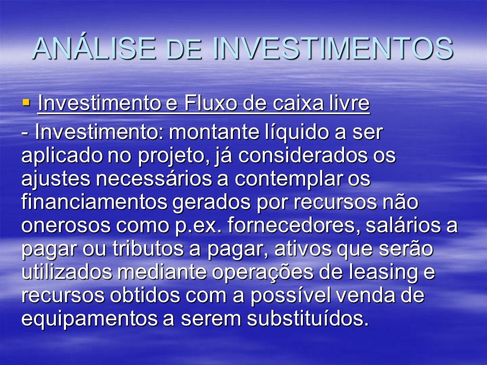 ANÁLISE DE INVESTIMENTOS Investimento e Fluxo de caixa livre Investimento e Fluxo de caixa livre - Investimento: montante líquido a ser aplicado no pr