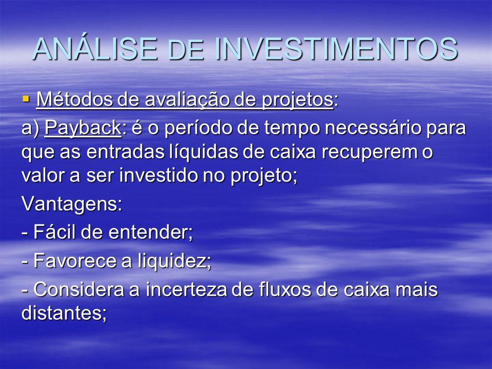 ANÁLISE DE INVESTIMENTOS Métodos de avaliação de projetos: Métodos de avaliação de projetos: a) Payback: é o período de tempo necessário para que as e