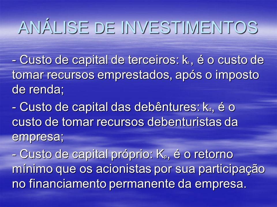 ANÁLISE DE INVESTIMENTOS - Custo de capital de terceiros: k t, é o custo de tomar recursos emprestados, após o imposto de renda; - Custo de capital da