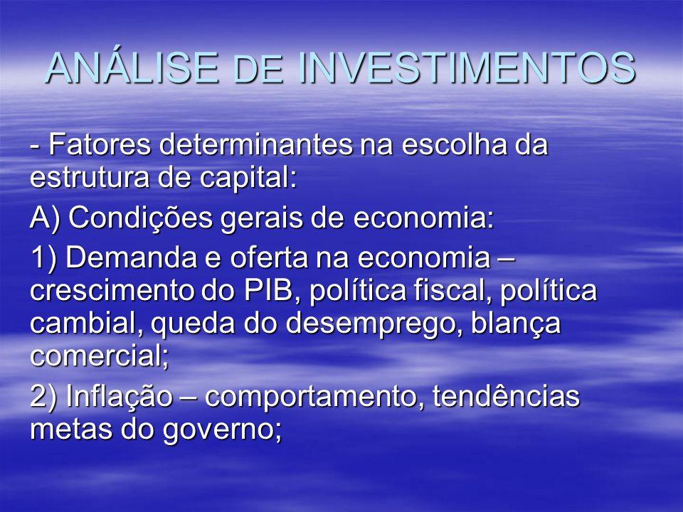 ANÁLISE DE INVESTIMENTOS - Fatores determinantes na escolha da estrutura de capital: A) Condições gerais de economia: 1) Demanda e oferta na economia