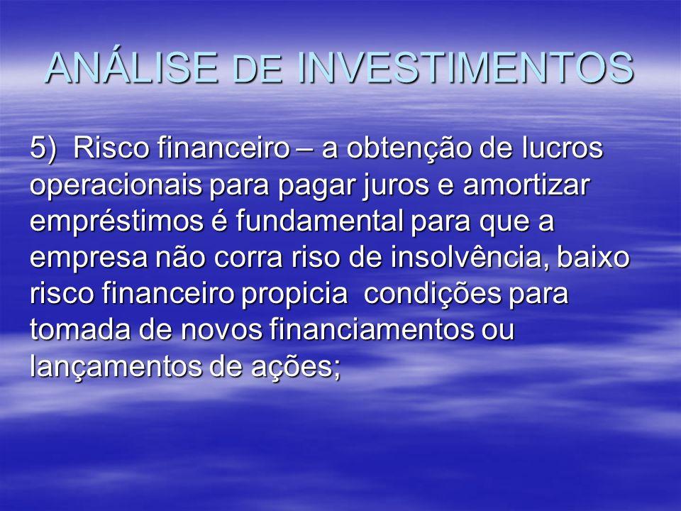 ANÁLISE DE INVESTIMENTOS 5) Risco financeiro – a obtenção de lucros operacionais para pagar juros e amortizar empréstimos é fundamental para que a emp