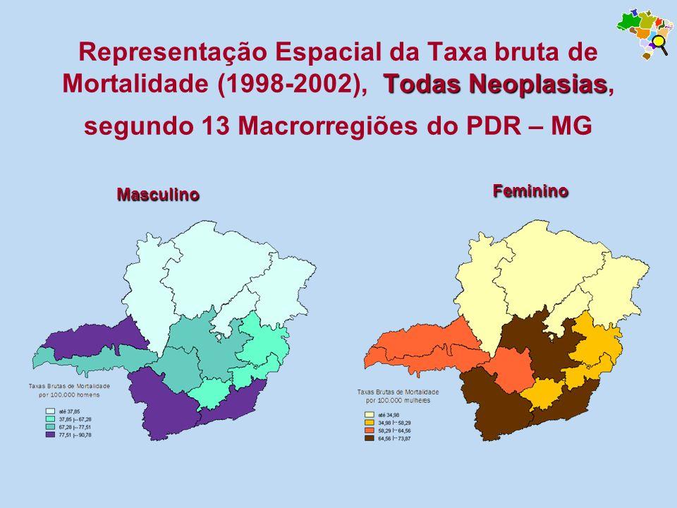 Todas Neoplasias Representação Espacial da Taxa bruta de Mortalidade (1998-2002), Todas Neoplasias, segundo 13 Macrorregiões do PDR – MG Masculino Fem