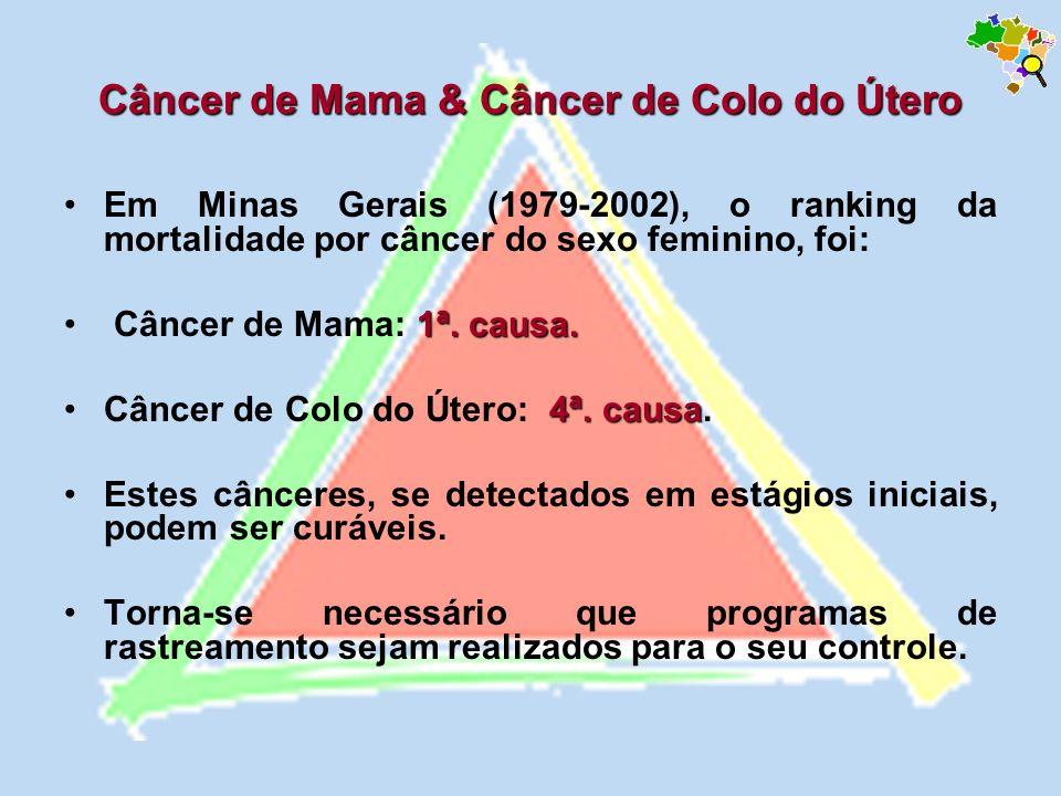 Em Minas Gerais (1979-2002), o ranking da mortalidade por câncer do sexo feminino, foi: 1ª. causa. Câncer de Mama: 1ª. causa. 4ª. causaCâncer de Colo
