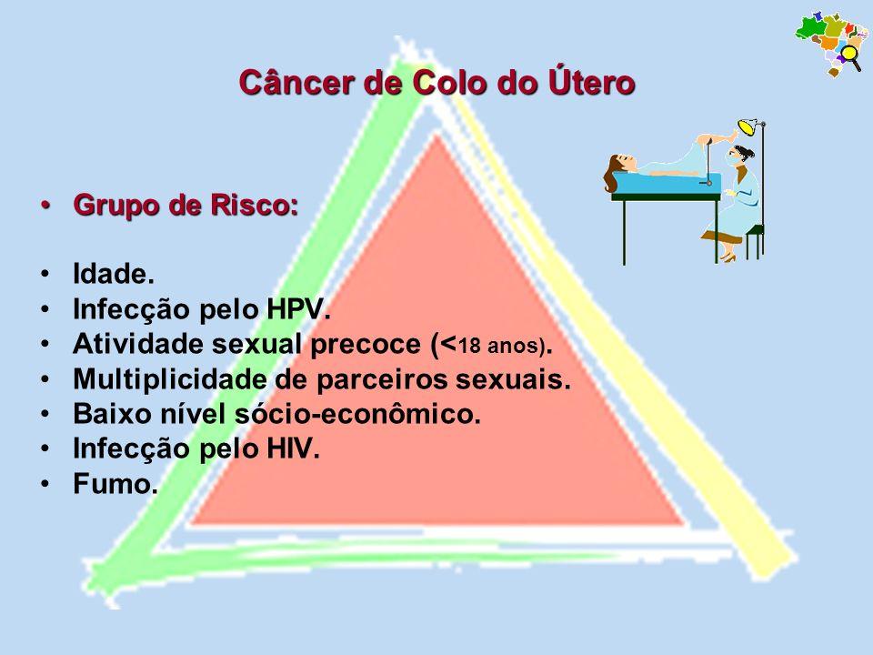 Câncer de Colo do Útero Grupo de Risco:Grupo de Risco: Idade. Infecção pelo HPV. Atividade sexual precoce (< 18 anos). Multiplicidade de parceiros sex