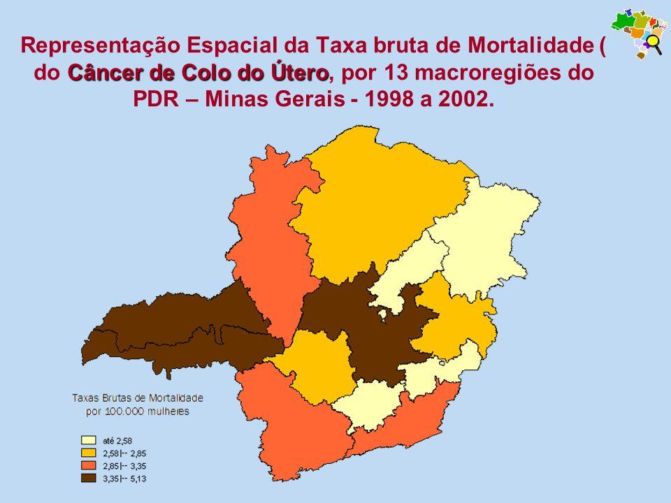 Câncer de Colo do Útero Representação Espacial da Taxa bruta de Mortalidade ( do Câncer de Colo do Útero, por 13 macroregiões do PDR – Minas Gerais -