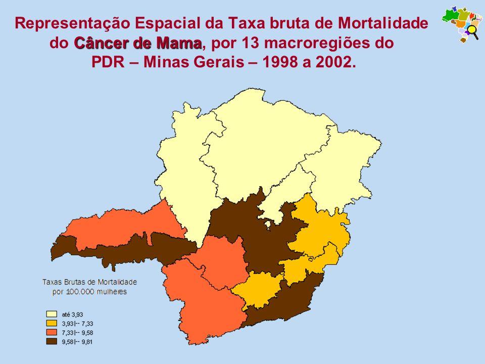 Câncer de Mama Representação Espacial da Taxa bruta de Mortalidade do Câncer de Mama, por 13 macroregiões do PDR – Minas Gerais – 1998 a 2002.