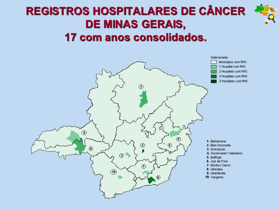 REGISTROS HOSPITALARES DE CÂNCER DE MINAS GERAIS, 17 com anos consolidados.