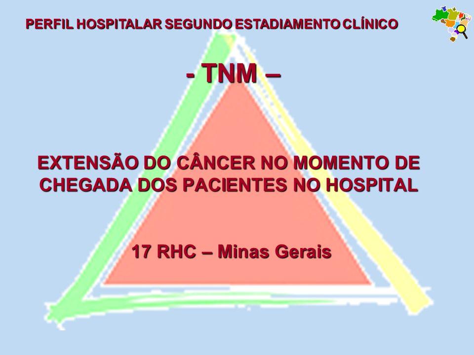 - TNM – EXTENSÃO DO CÂNCER NO MOMENTO DE CHEGADA DOS PACIENTES NO HOSPITAL 17 RHC – Minas Gerais - TNM – EXTENSÃO DO CÂNCER NO MOMENTO DE CHEGADA DOS