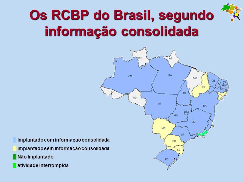 Os RCBP do Brasil, segundo informação consolidada Implantado com informação consolidada Implantado sem informação consolidada Não Implantado atividade