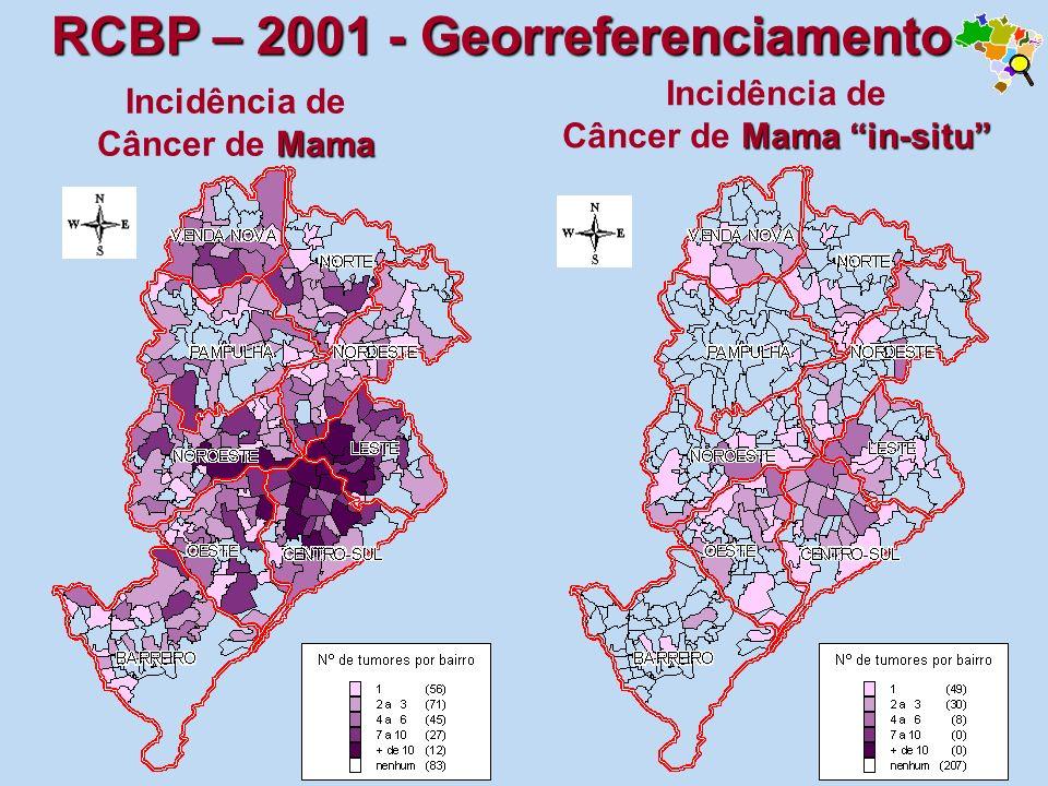 Mama Incidência de Câncer de Mama Mama in-situ Incidência de Câncer de Mama in-situ RCBP – 2001 - Georreferenciamento