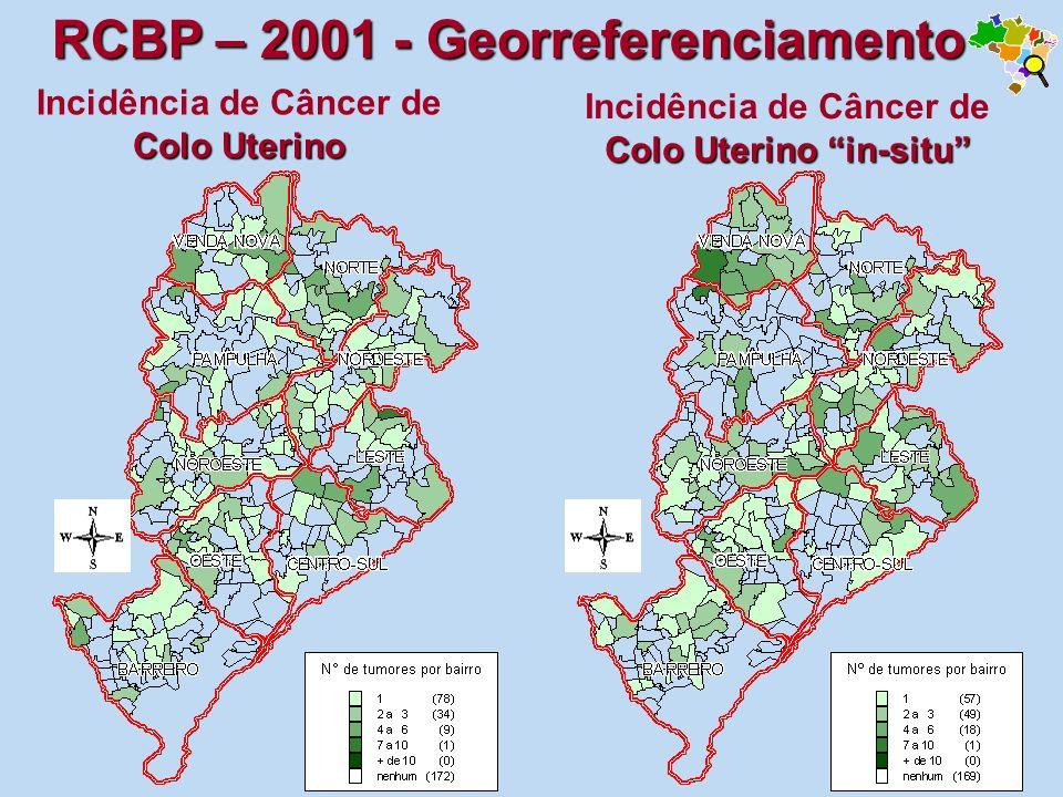 Colo Uterino Incidência de Câncer de Colo Uterino Colo Uterino in-situ Incidência de Câncer de Colo Uterino in-situ RCBP – 2001 - Georreferenciamento