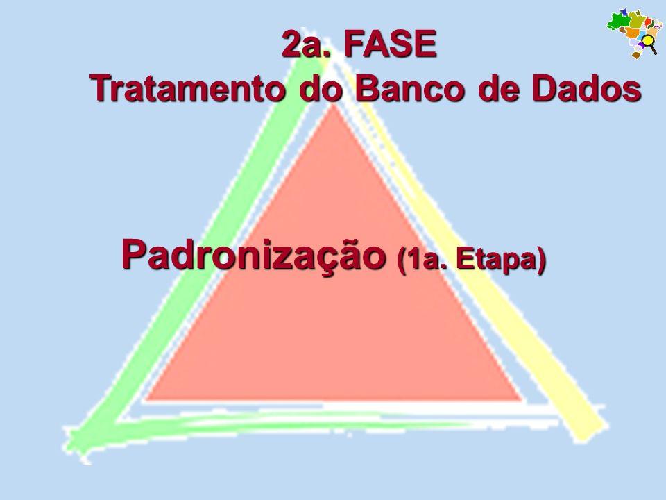 Padronização (1a. Etapa) 2a. FASE Tratamento do Banco de Dados