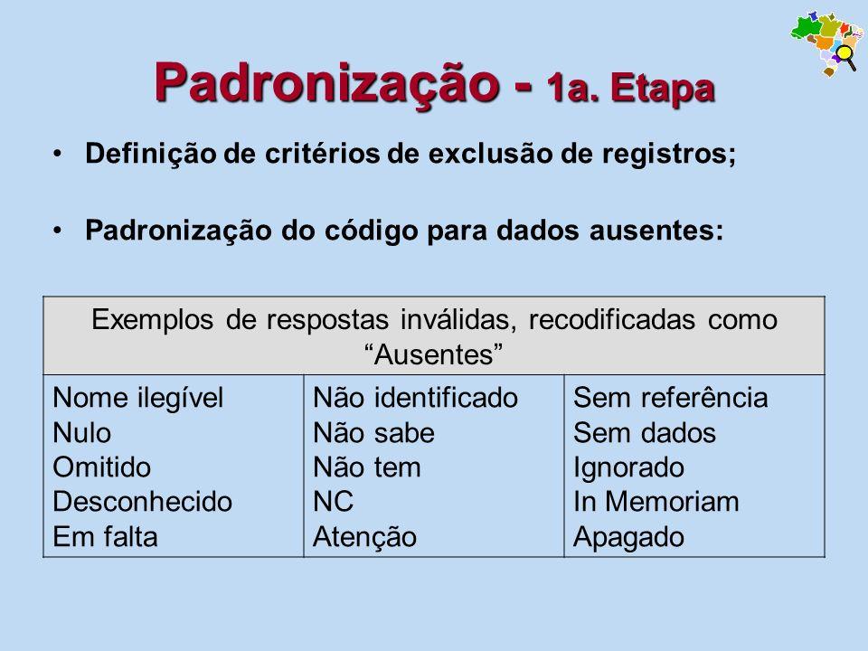 Padronização - 1a. Etapa Definição de critérios de exclusão de registros; Padronização do código para dados ausentes: Exemplos de respostas inválidas,