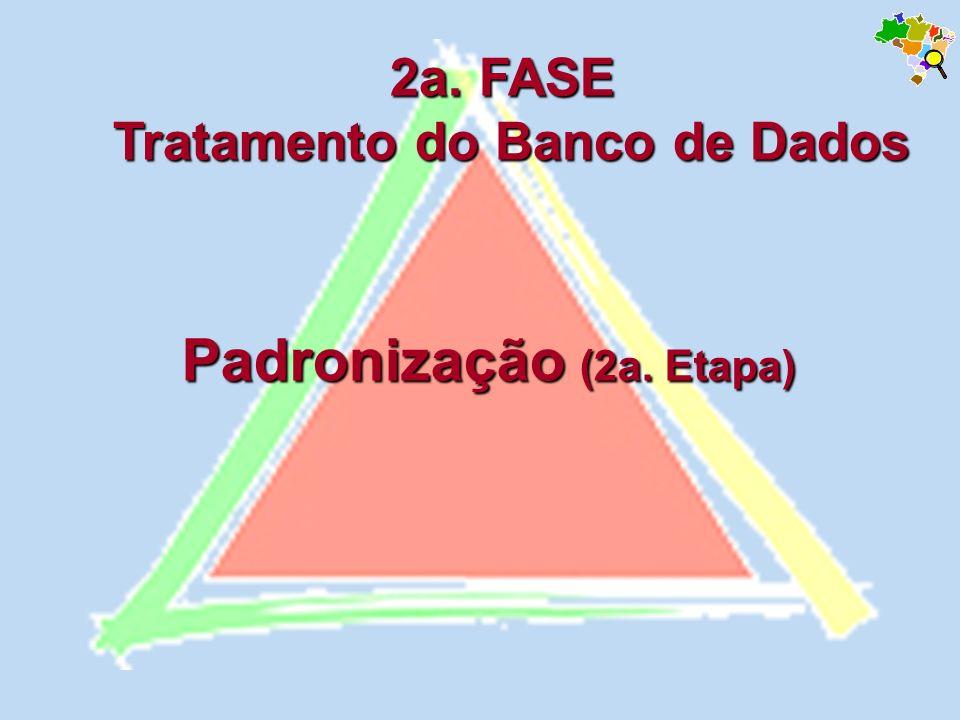Padronização (2a. Etapa) 2a. FASE Tratamento do Banco de Dados