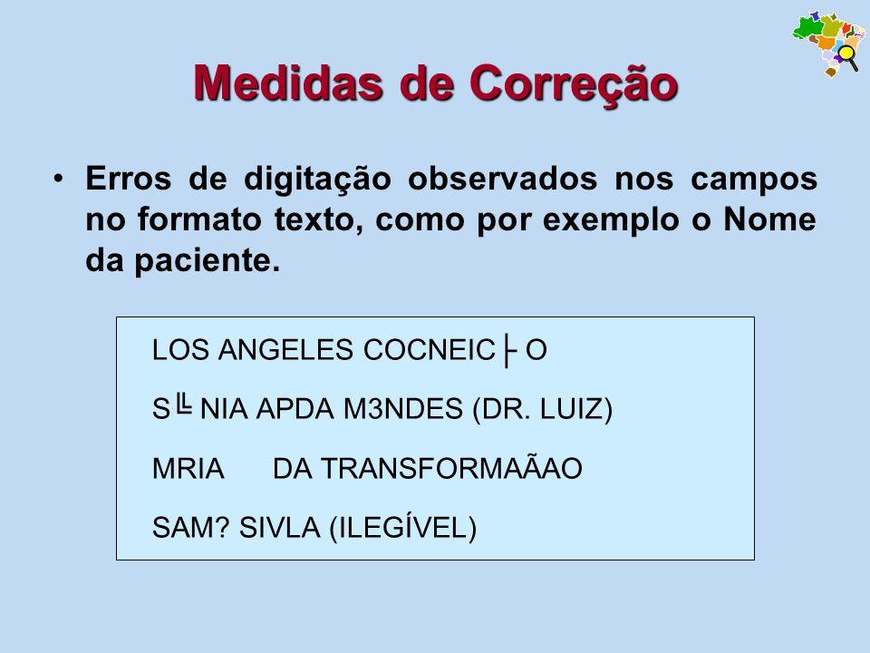 Erros de digitação observados nos campos no formato texto, como por exemplo o Nome da paciente. Medidas de Correção LOS ANGELES COCNEIC O S NIA APDA M