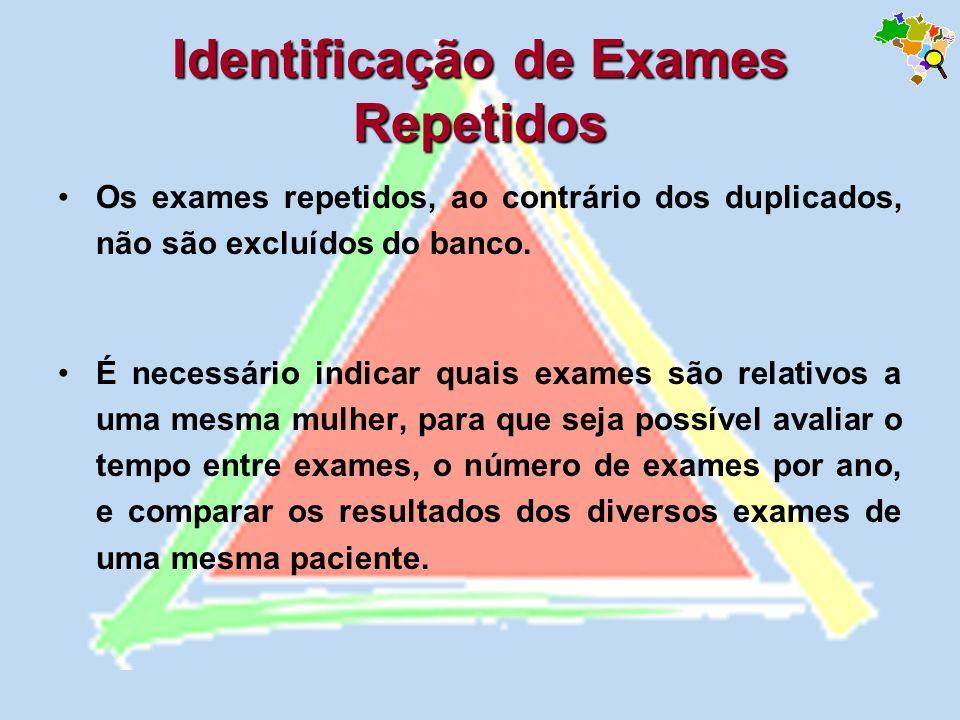 Os exames repetidos, ao contrário dos duplicados, não são excluídos do banco. É necessário indicar quais exames são relativos a uma mesma mulher, para