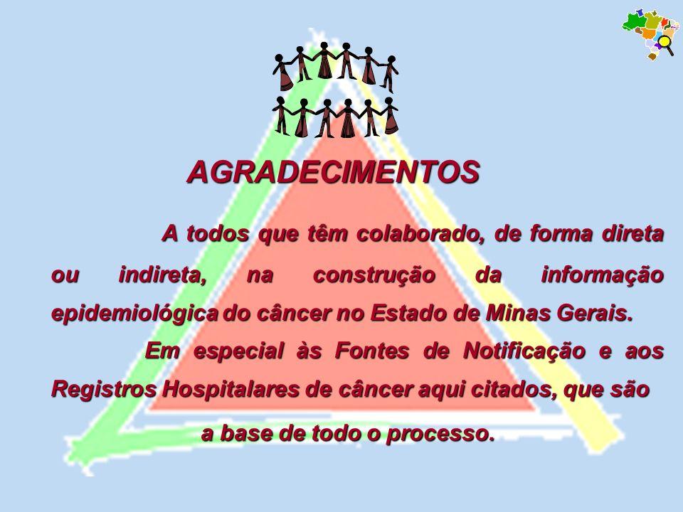 AGRADECIMENTOS AGRADECIMENTOS A todos que têm colaborado, de forma direta ou indireta, na construção da informação epidemiológica do câncer no Estado