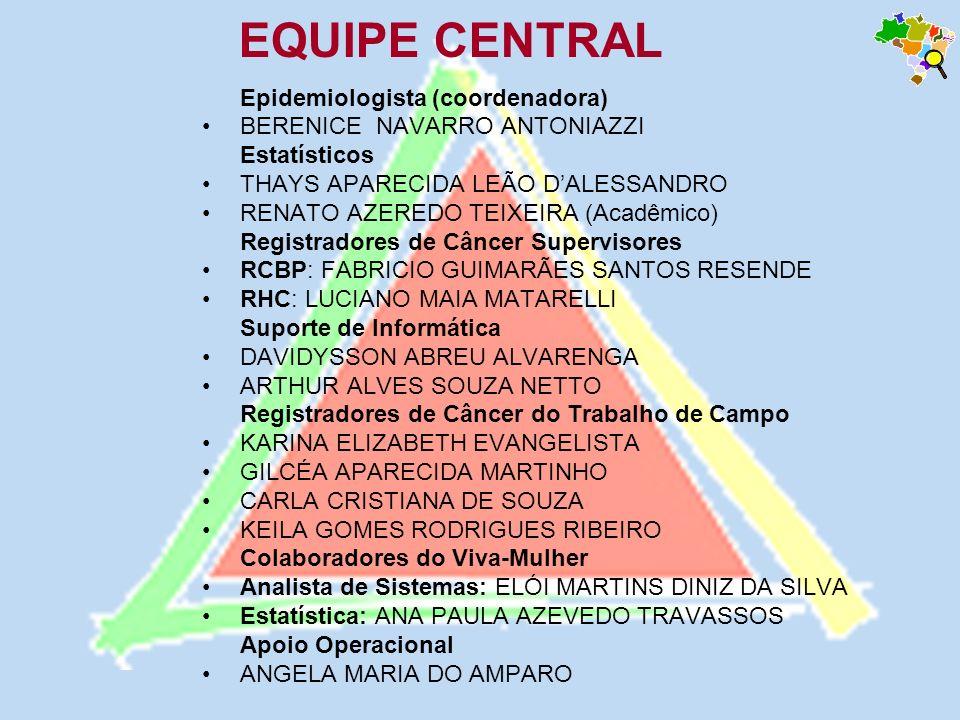 Epidemiologista (coordenadora) BERENICE NAVARRO ANTONIAZZI Estatísticos THAYS APARECIDA LEÃO DALESSANDRO RENATO AZEREDO TEIXEIRA (Acadêmico) Registrad