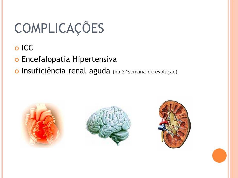 COMPLICAÇÕES ICC Encefalopatia Hipertensiva Insuficiência renal aguda (na 2 ºsemana de evolução)