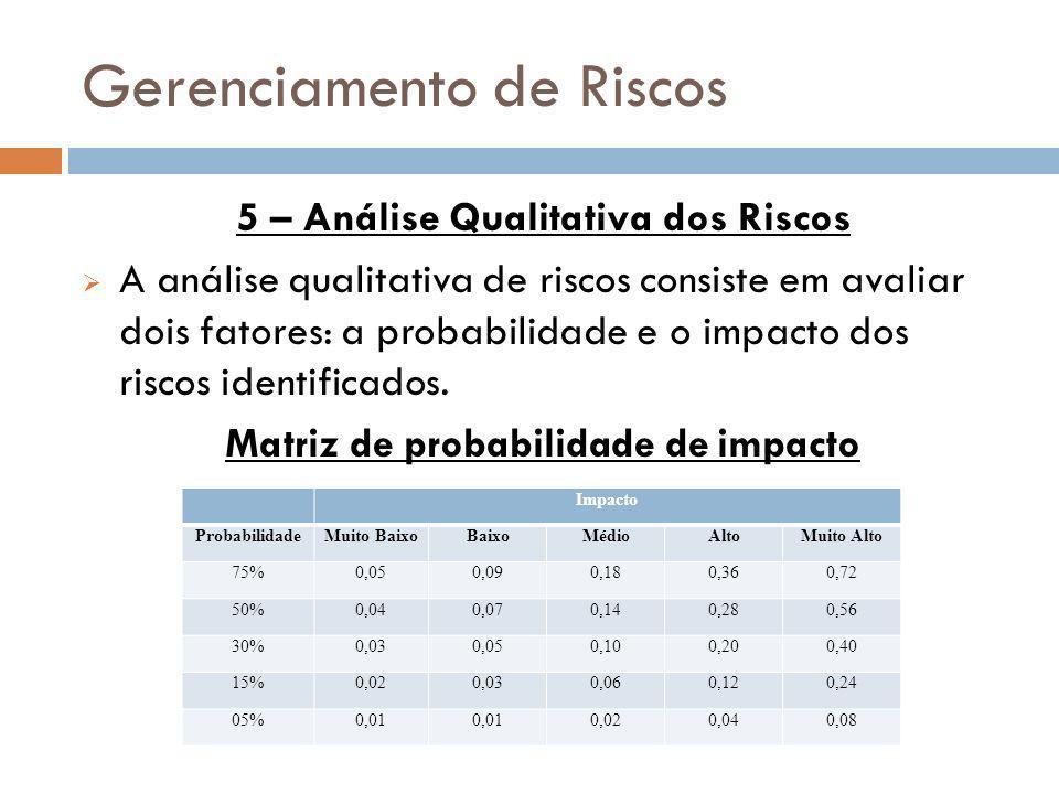 Gerenciamento de Riscos 5 – Análise Qualitativa dos Riscos A análise qualitativa de riscos consiste em avaliar dois fatores: a probabilidade e o impac