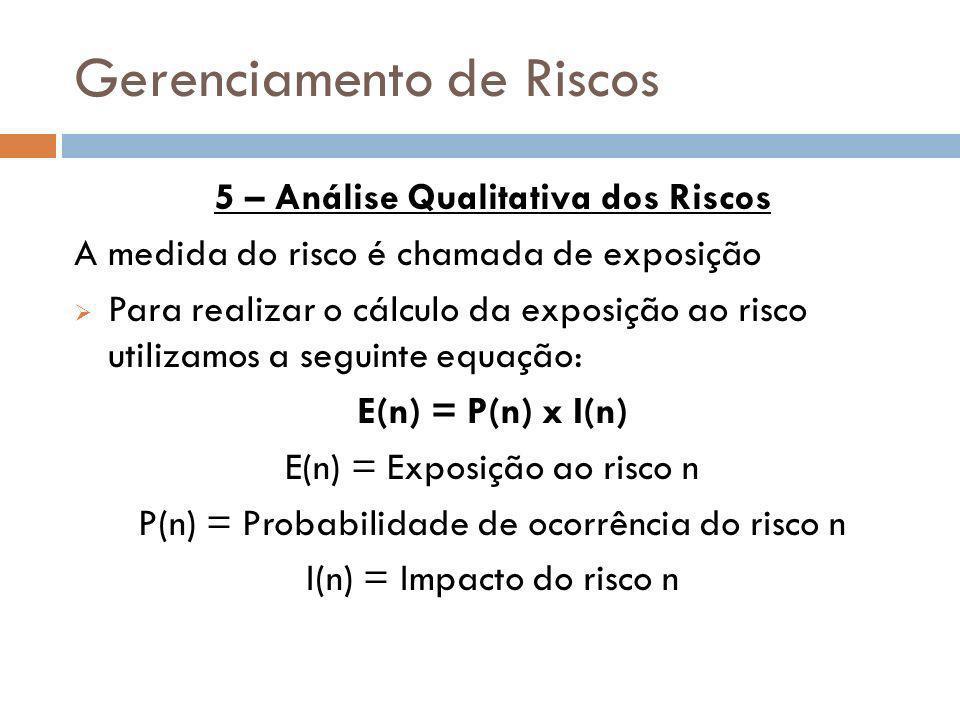 Gerenciamento de Riscos 5 – Análise Qualitativa dos Riscos A medida do risco é chamada de exposição Para realizar o cálculo da exposição ao risco util