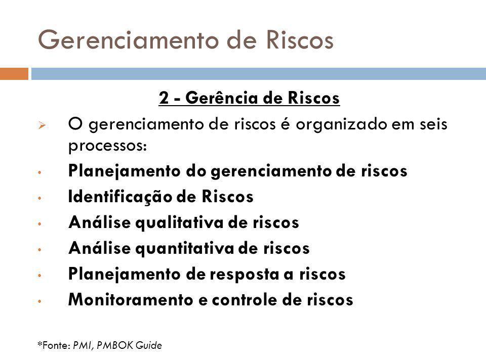 Gerenciamento de Riscos 2 - Gerência de Riscos O gerenciamento de riscos é organizado em seis processos: Planejamento do gerenciamento de riscos Ident