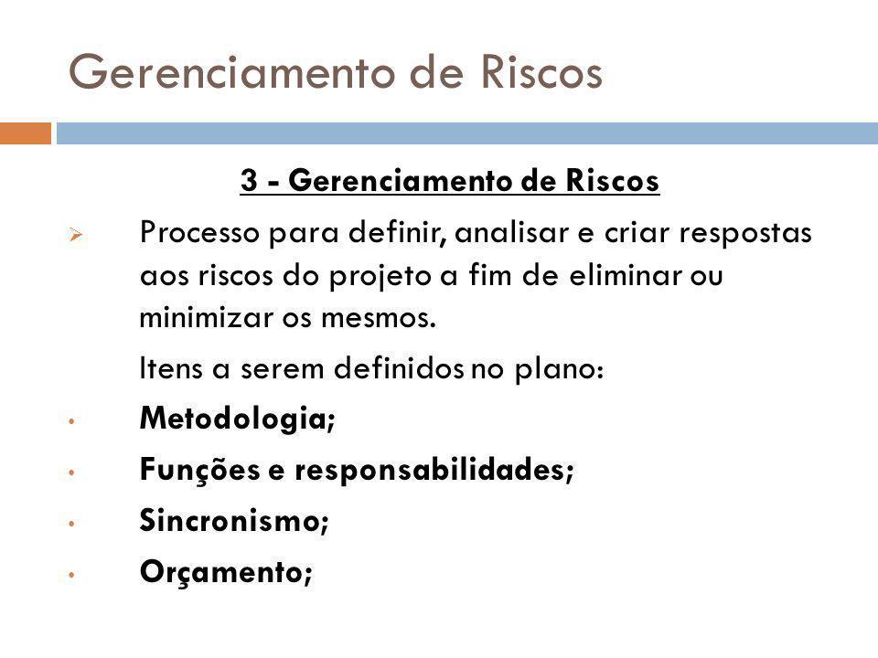 Gerenciamento de Riscos 3 - Gerenciamento de Riscos Processo para definir, analisar e criar respostas aos riscos do projeto a fim de eliminar ou minim