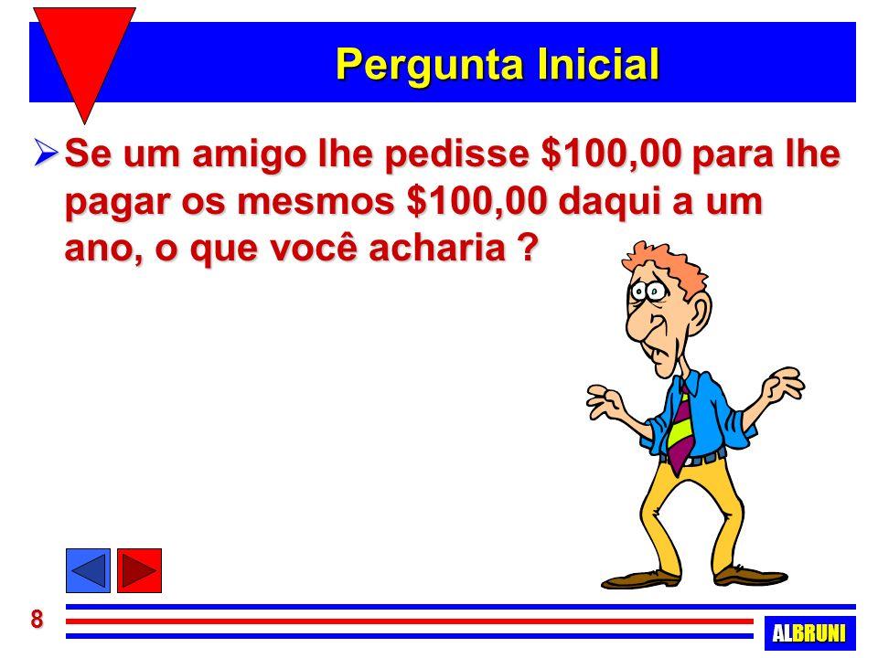 ALBRUNI 9 Valor do dinheiro no tempo Com certeza, por melhor que fosse seu amigo, a proposta não seria vista com bons olhos !!.