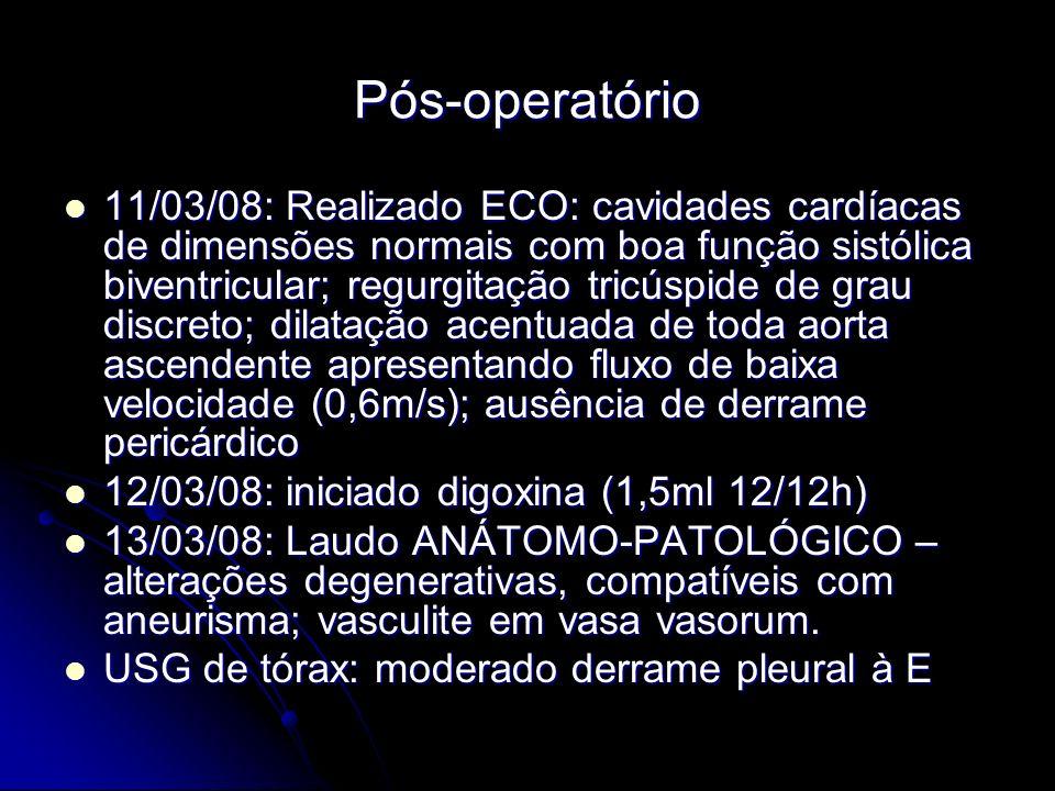 Pós-operatório 11/03/08: Realizado ECO: cavidades cardíacas de dimensões normais com boa função sistólica biventricular; regurgitação tricúspide de grau discreto; dilatação acentuada de toda aorta ascendente apresentando fluxo de baixa velocidade (0,6m/s); ausência de derrame pericárdico 11/03/08: Realizado ECO: cavidades cardíacas de dimensões normais com boa função sistólica biventricular; regurgitação tricúspide de grau discreto; dilatação acentuada de toda aorta ascendente apresentando fluxo de baixa velocidade (0,6m/s); ausência de derrame pericárdico 12/03/08: iniciado digoxina (1,5ml 12/12h) 12/03/08: iniciado digoxina (1,5ml 12/12h) 13/03/08: Laudo ANÁTOMO-PATOLÓGICO – alterações degenerativas, compatíveis com aneurisma; vasculite em vasa vasorum.