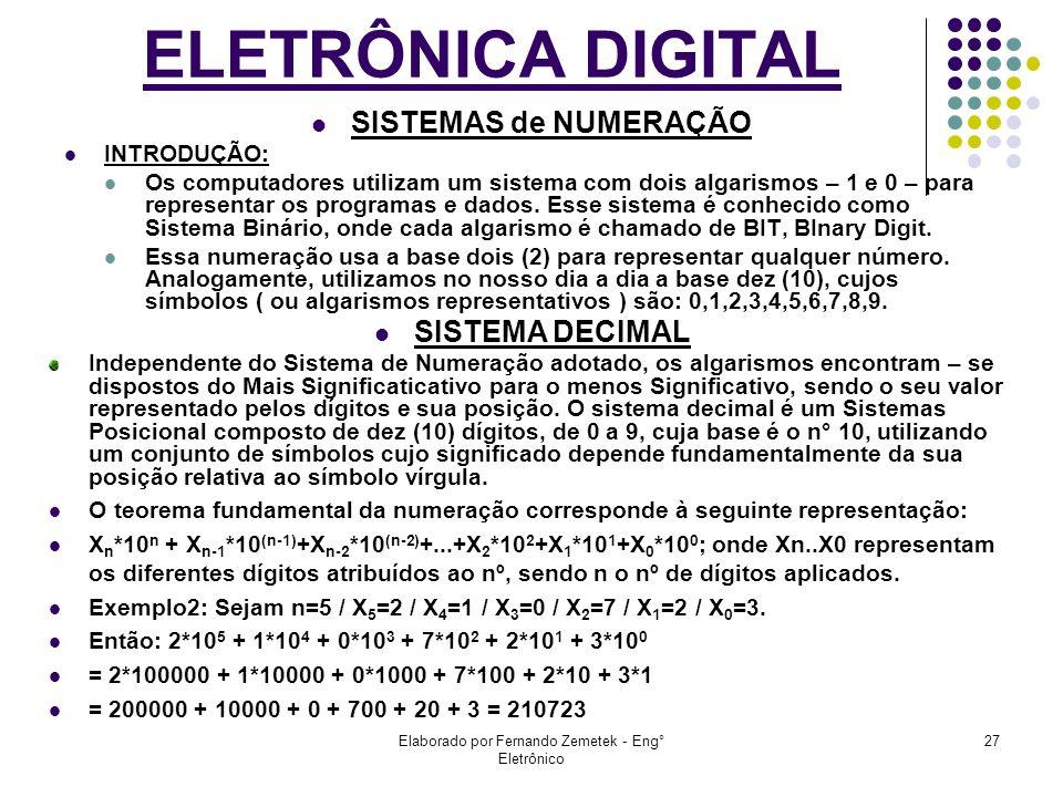 Elaborado por Fernando Zemetek - Eng° Eletrônico 27 SISTEMAS de NUMERAÇÃO INTRODUÇÃO: Os computadores utilizam um sistema com dois algarismos – 1 e 0