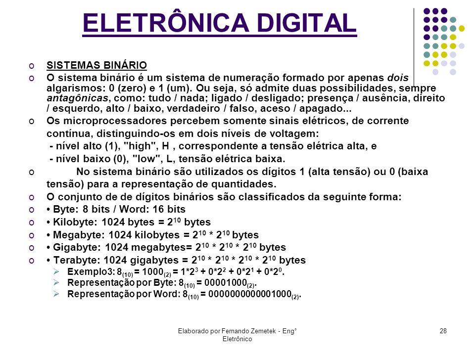 Elaborado por Fernando Zemetek - Eng° Eletrônico 28 ELETRÔNICA DIGITAL oSISTEMAS BINÁRIO oO sistema binário é um sistema de numeração formado por apen