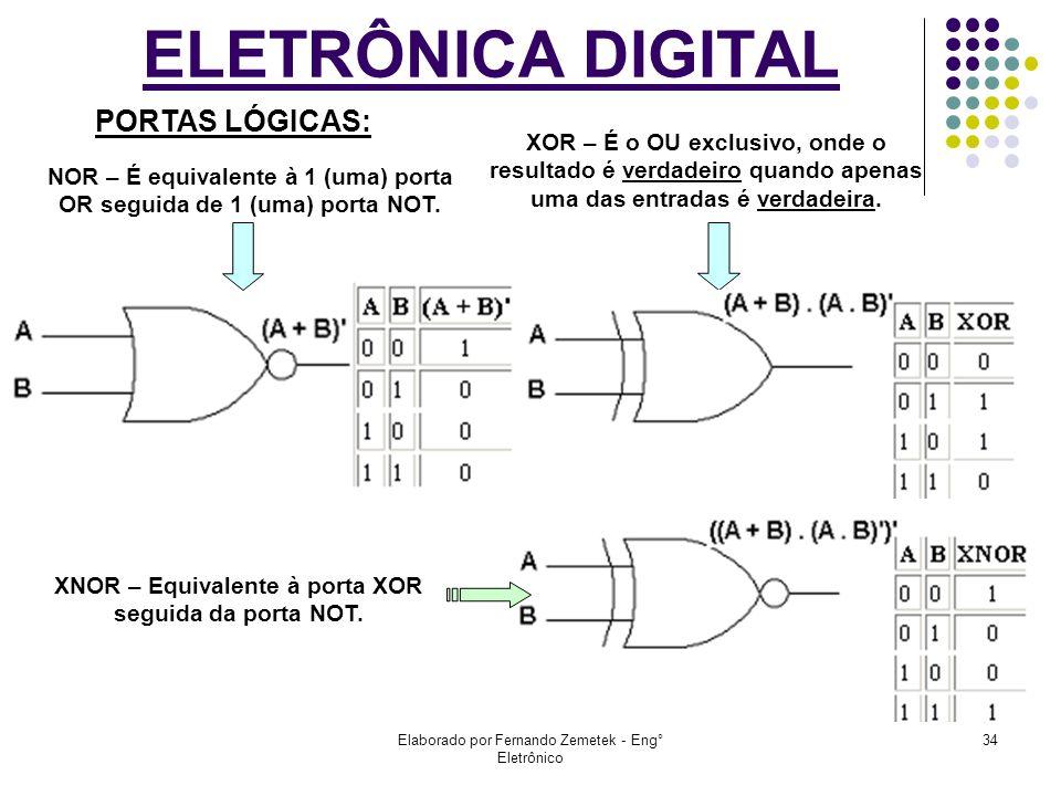 Elaborado por Fernando Zemetek - Eng° Eletrônico 34 ELETRÔNICA DIGITAL NOR – É equivalente à 1 (uma) porta OR seguida de 1 (uma) porta NOT. XOR – É o