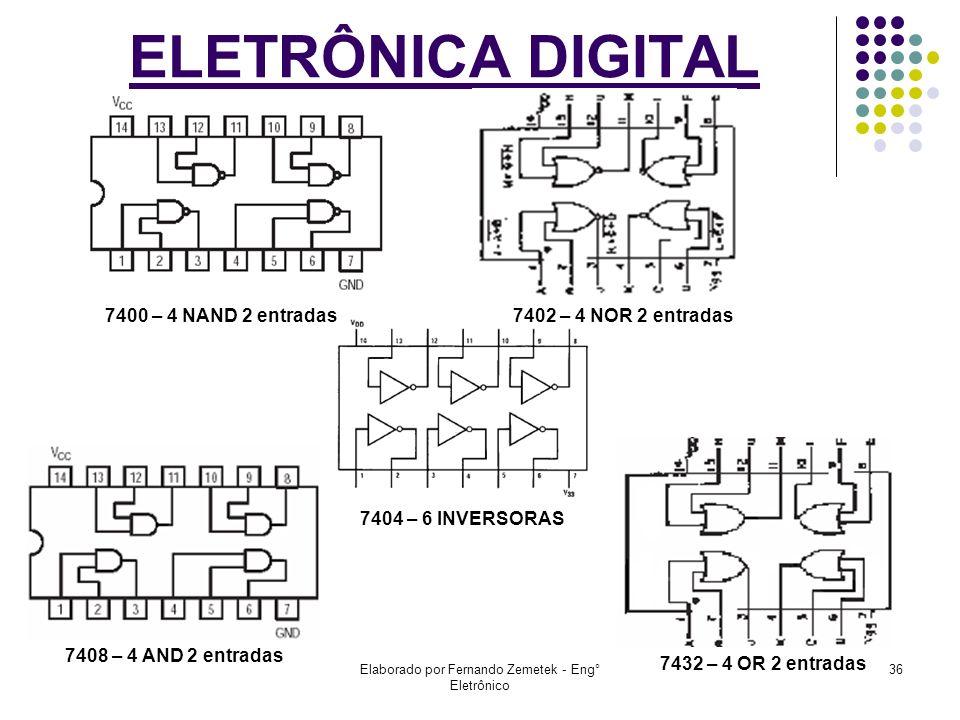 Elaborado por Fernando Zemetek - Eng° Eletrônico 36 ELETRÔNICA DIGITAL 7400 – 4 NAND 2 entradas7402 – 4 NOR 2 entradas 7404 – 6 INVERSORAS 7408 – 4 AN