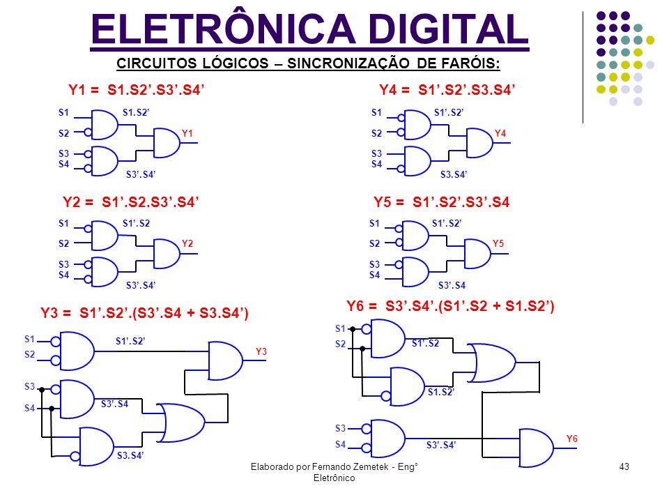 Elaborado por Fernando Zemetek - Eng° Eletrônico 43 ELETRÔNICA DIGITAL CIRCUITOS LÓGICOS – SINCRONIZAÇÃO DE FARÓIS: Y1 = S1.S2.S3.S4 Y2 = S1.S2.S3.S4