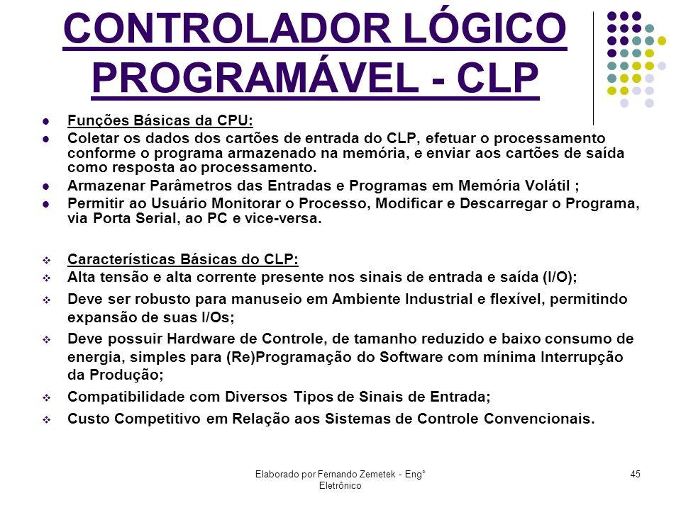 Elaborado por Fernando Zemetek - Eng° Eletrônico 45 Funções Básicas da CPU: Coletar os dados dos cartões de entrada do CLP, efetuar o processamento co