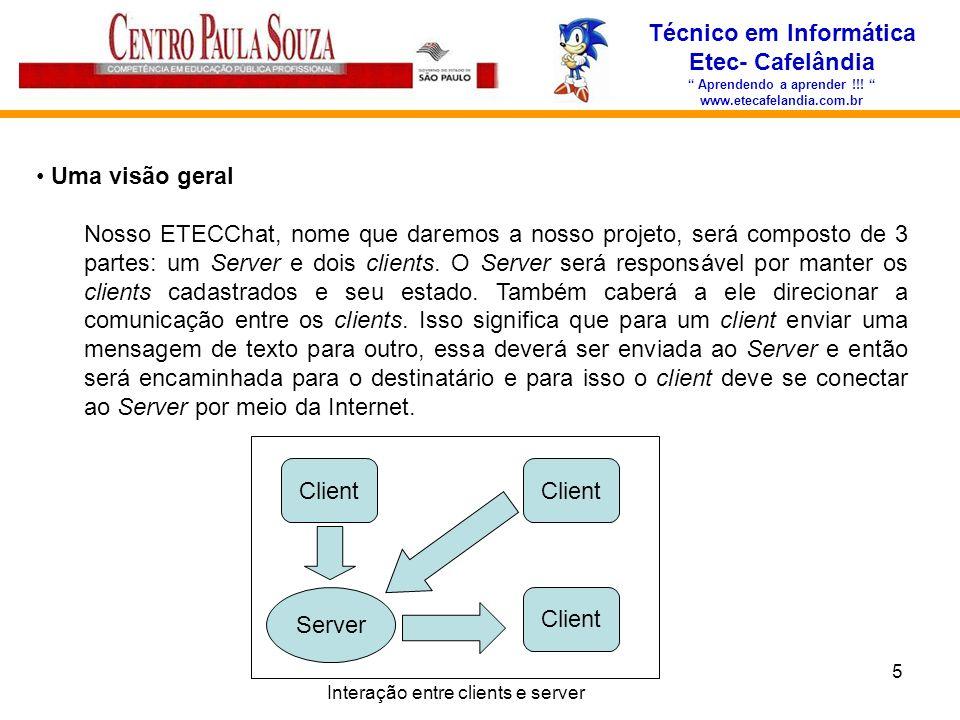 5 Técnico em Informática Etec- Cafelândia Aprendendo a aprender !!! www.etecafelandia.com.br Uma visão geral Nosso ETECChat, nome que daremos a nosso