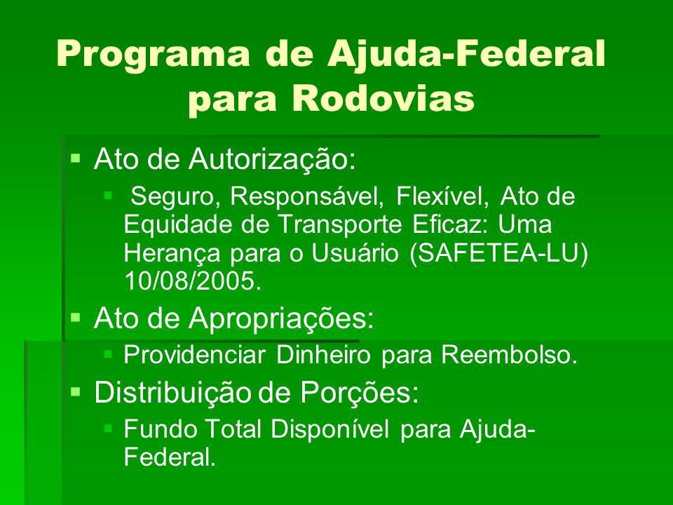 Programa de Ajuda-Federal para Rodovias Ato de Autorização: Seguro, Responsável, Flexível, Ato de Equidade de Transporte Eficaz: Uma Herança para o Usuário (SAFETEA-LU) 10/08/2005.