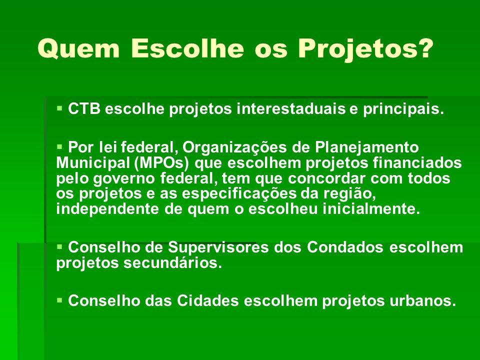 Quem Escolhe os Projetos.CTB escolhe projetos interestaduais e principais.