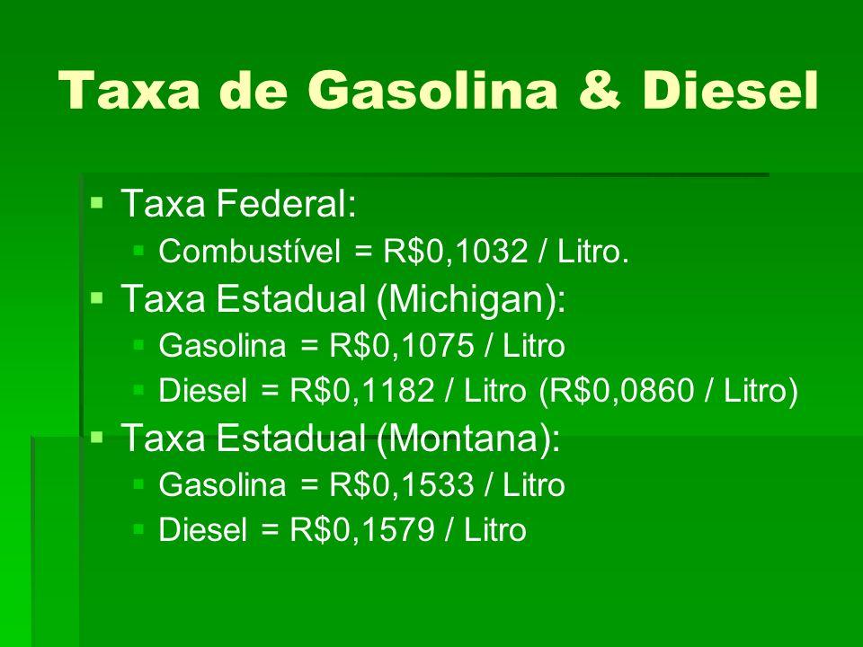 Taxa de Gasolina & Diesel Taxa Federal: Combustível = R$0,1032 / Litro.