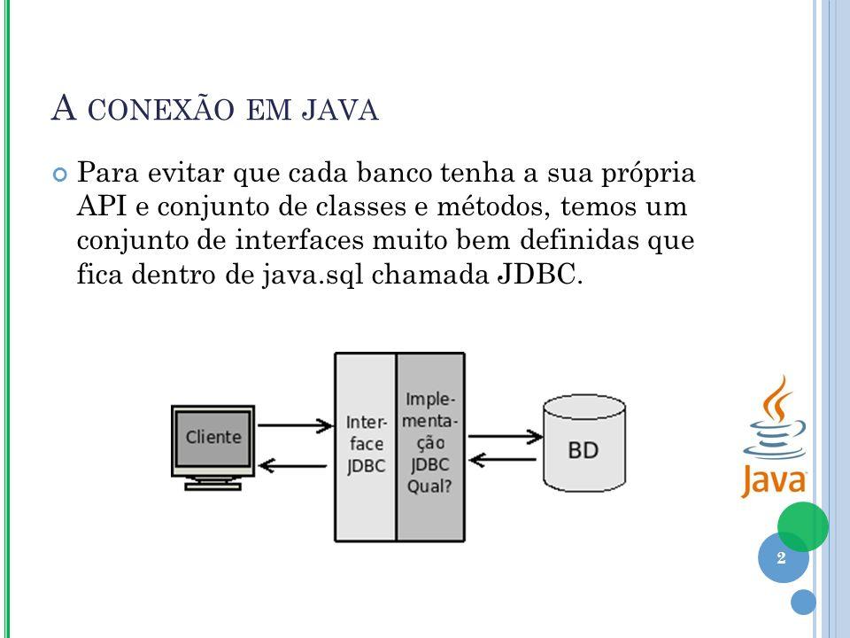 A CONEXÃO EM JAVA Para evitar que cada banco tenha a sua própria API e conjunto de classes e métodos, temos um conjunto de interfaces muito bem definidas que fica dentro de java.sql chamada JDBC.