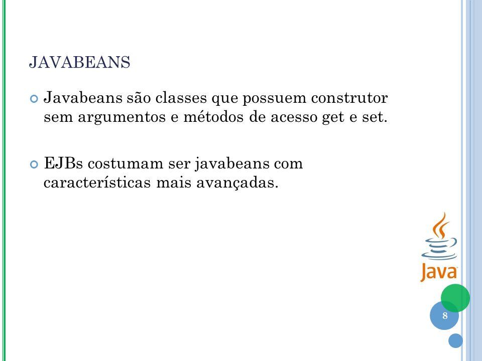 JAVABEANS Javabeans são classes que possuem construtor sem argumentos e métodos de acesso get e set.