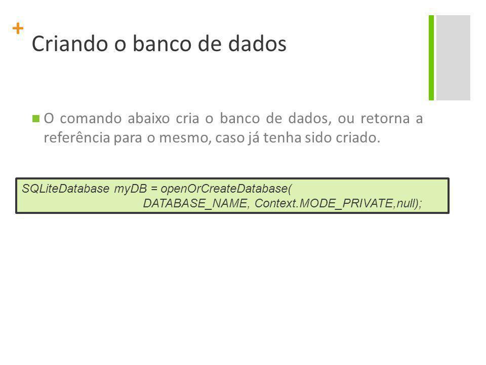 + Criando o banco de dados O comando abaixo cria o banco de dados, ou retorna a referência para o mesmo, caso já tenha sido criado. SQLiteDatabase myD