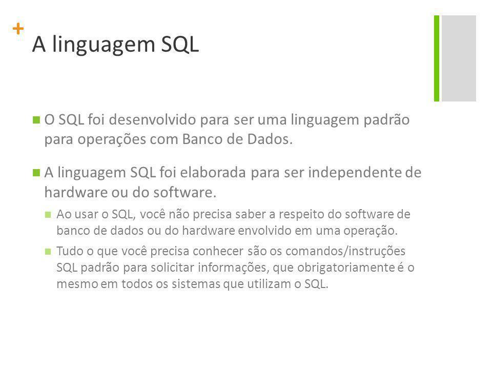 + A linguagem SQL O SQL foi desenvolvido para ser uma linguagem padrão para operações com Banco de Dados. A linguagem SQL foi elaborada para ser indep