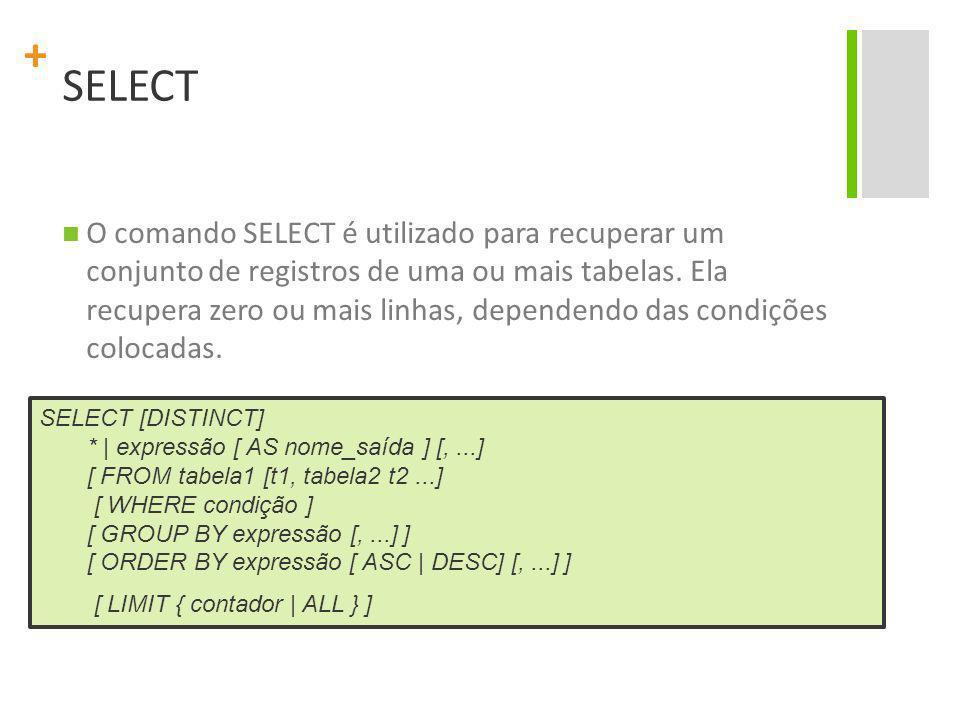+ SELECT O comando SELECT é utilizado para recuperar um conjunto de registros de uma ou mais tabelas. Ela recupera zero ou mais linhas, dependendo das