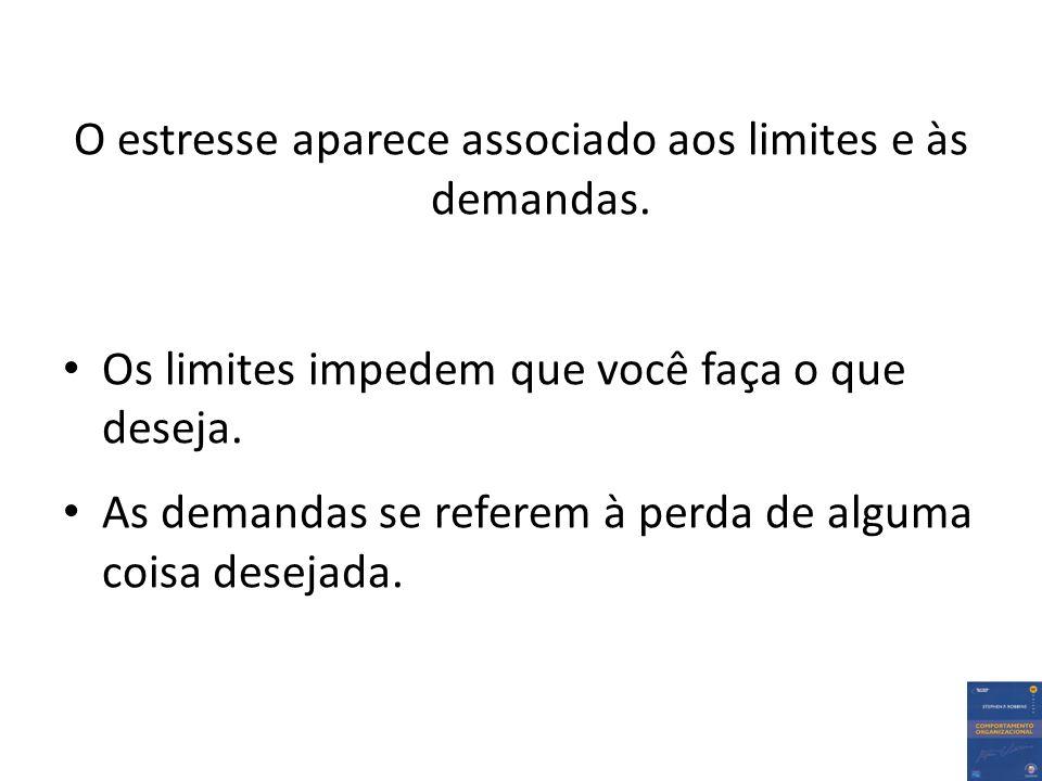 O estresse aparece associado aos limites e às demandas. Os limites impedem que você faça o que deseja. As demandas se referem à perda de alguma coisa